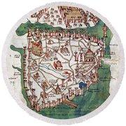Constantinople, 1420 Round Beach Towel