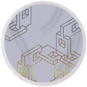 Construct Number Four Round Beach Towel