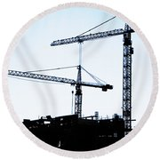 Construction Cranes Round Beach Towel