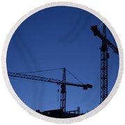 Construction Cranes At Dusk Round Beach Towel
