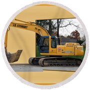 Construction Equipment 01 Round Beach Towel