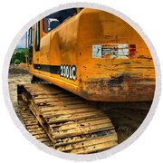 Construction Excavator In Hdr 1 Round Beach Towel