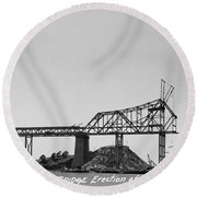 Construction Of The Eastern Span San Francisco Oakland Bay Bridge June 29 1930 Round Beach Towel