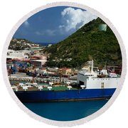 Container Ship St Maarten Round Beach Towel
