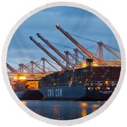 Container Ships Docked In Port Of Oakland Round Beach Towel