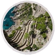 Contemplating Mediterranean Vacations - Via Krupp Capri Island Italy Round Beach Towel