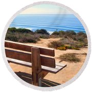 Contemplation Bench At The Oceans Edge Round Beach Towel