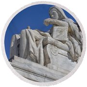 Contemplation Of Justice 1 Round Beach Towel