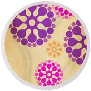 Contemporary Dandelions 2 Part 2 Of 3 Round Beach Towel