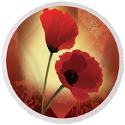 Contemporary Wild Poppies Round Beach Towel