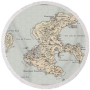 Continent Of Verme Round Beach Towel