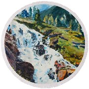 Continental Falls Round Beach Towel