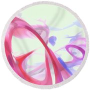 Contortion Pastel Abstract  Round Beach Towel