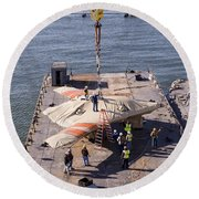 Contractors Hoist The X-47b Unmanned Round Beach Towel