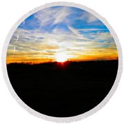 Contrail Sunset Round Beach Towel