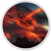 Contrails And Sunset Round Beach Towel