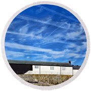 Contrails Over The Cobb Round Beach Towel