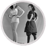 Contrast In Bathing Suit Style Round Beach Towel