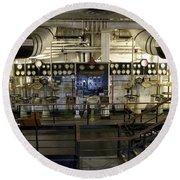 Control Board Engine Room Queen Mary Ocean Liner Long Beach Ca Round Beach Towel