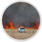 Controlled Burn And Brush Truck Round Beach Towel