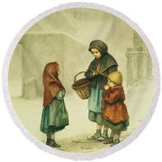 Conversation In The Snow Round Beach Towel by Pierre Edouard Frere