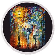 Conversation - Palette Knife Oil Painting On Canvas By Leonid Afremov Round Beach Towel
