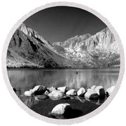 Convict Lake Pano In Black And White Round Beach Towel