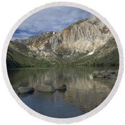 Convict Lake Reflection Round Beach Towel