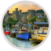 Conwy Castle And Harbour Round Beach Towel