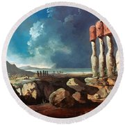 Cook: Easter Island, 1774 Round Beach Towel