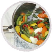 Cooked Mixed Vegetables Round Beach Towel