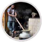 Cooking Breakfast Early Morning Lahore Pakistan Round Beach Towel