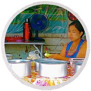 Cooking In The Marketplace In Tachilek-burma Round Beach Towel