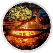Cooking Meat And Potatoes Round Beach Towel