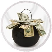 cooking Pot full of Money White Background Round Beach Towel