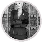 Cool Blonde Bw Palm Springs Round Beach Towel
