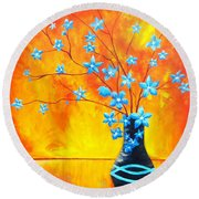 Cool Blue On Fire Round Beach Towel