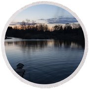 Cool Blue Ripples - Lake Shore Eventide Round Beach Towel