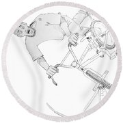 Cool Bmx Drawing Round Beach Towel by Mike Jory