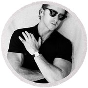 Cool Cal Bw Palm Springs Round Beach Towel by William Dey