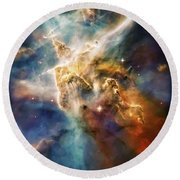 Cool Carina Nebula Pillar 4 Round Beach Towel by Jennifer Rondinelli Reilly - Fine Art Photography