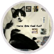 Cool Cat Greeting Card Round Beach Towel