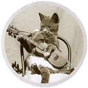 Cool Cat Playing A Guitar Circa 1900 Historical Photo By Photo  Henry King Nourse Round Beach Towel