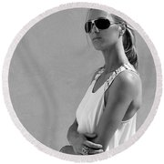 Cool Catherine Palm Springs Round Beach Towel by William Dey