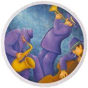 Cool Jazz Trio Round Beach Towel