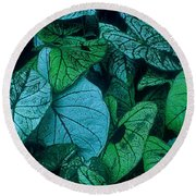 Cool Leafy Green Round Beach Towel