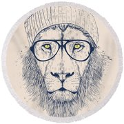 Cool Lion Round Beach Towel