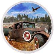 Cool Rusty Classic Ride Round Beach Towel
