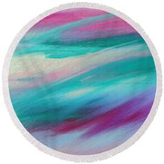 Cool Waves - Abstract - Digital Painting Round Beach Towel