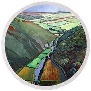 Coombe Valley Gate, Exmoor, 2009 Acrylic On Canvas Round Beach Towel